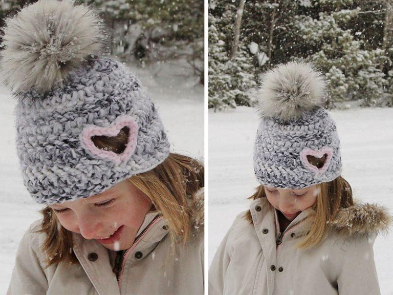 Hailey Heart Cut Out Hat Crochet Free Pattern