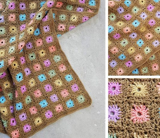 Color Flower Blanket Camo Girl Crochet Free Pattern