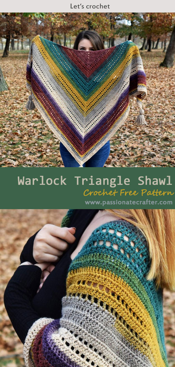 Warlock Triangle Shawl Crochet Free Pattern