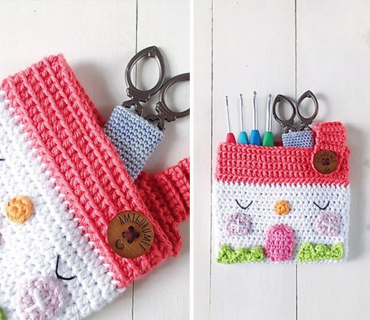 Easy House Pouch Crochet Free Pattern