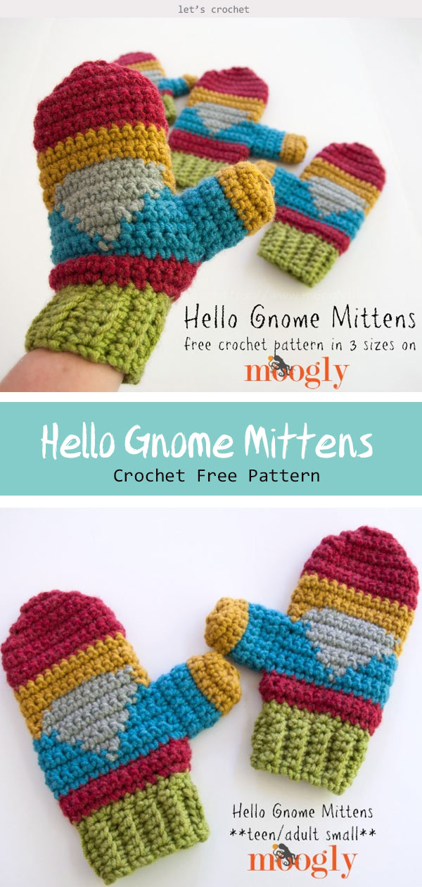 Hello Gnome Mittens in 3 Sizes Crochet Free Pattern