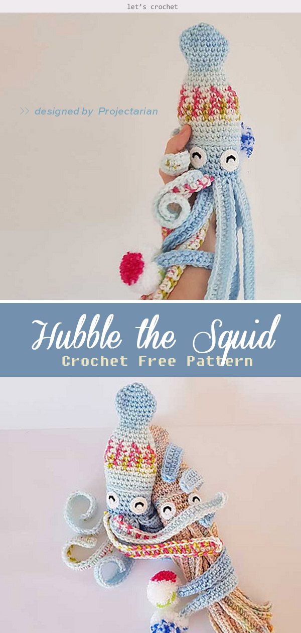 Crochet Hubble the Squid Toy Amigurumi Free Pattern   1260x600