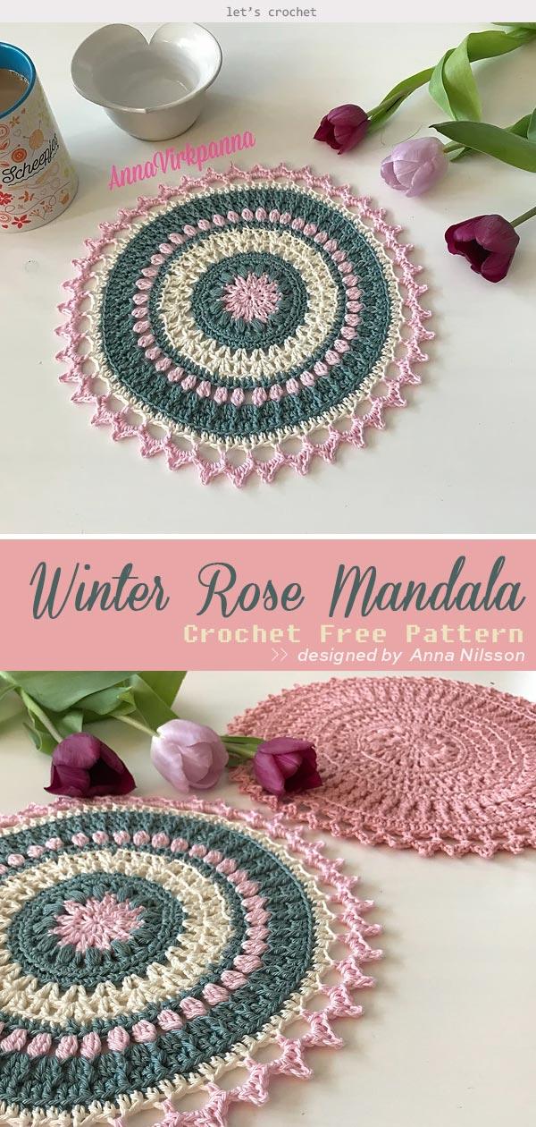 Winter Rose Mandala Crochet Free Pattern