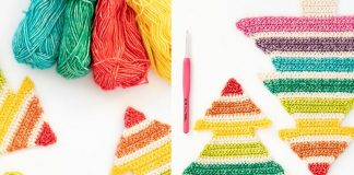 Crochet Rainbow Christmas Tree Free Pattern