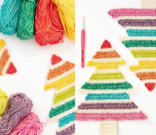 Crochet Rainbow Christmas Tree Free Pattern
