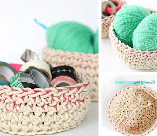 Color Block Crochet Baskets Free Pattern