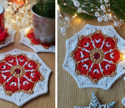 The Merry Little coaster Crochet Free Pattern