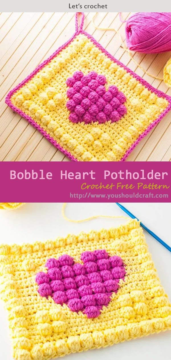 Bobble Heart Potholder Crochet Free Pattern