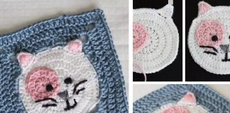 Kitty Cat Granny Square Crochet Free Pattern