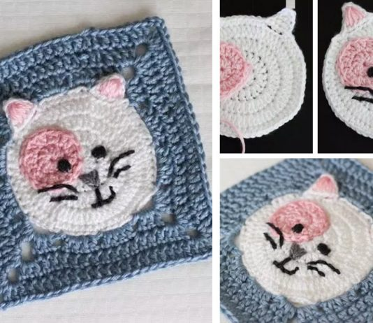 Kitty Cat Granny Square Crochet Free Pattern