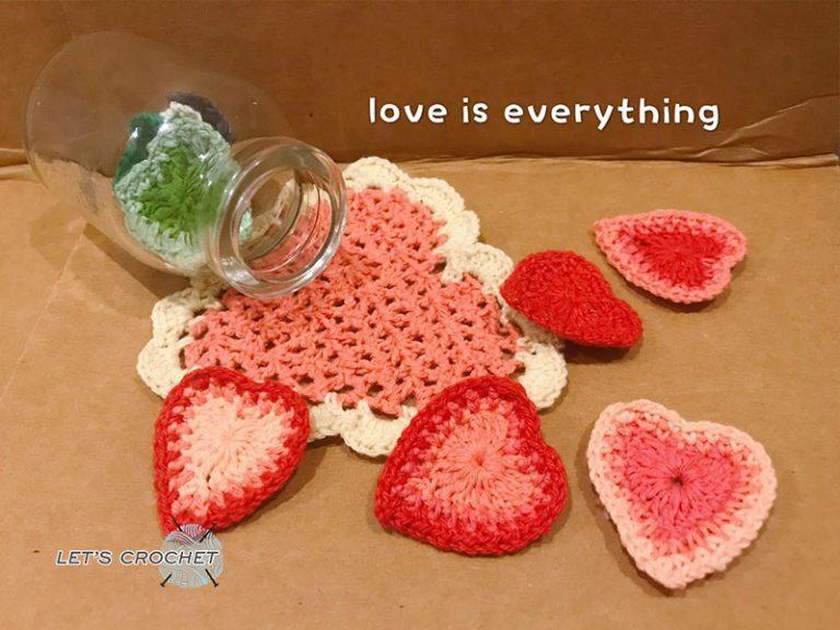 Easy Heart Coaster Crochet Free Diagram