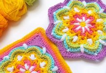 Vintage Rainbow Mandala Crochet Free Pattern