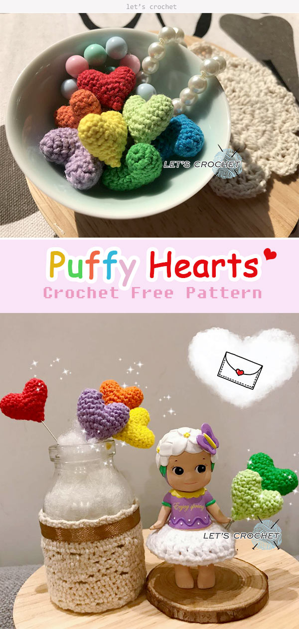 Puffy Hearts Crochet Free Pattern