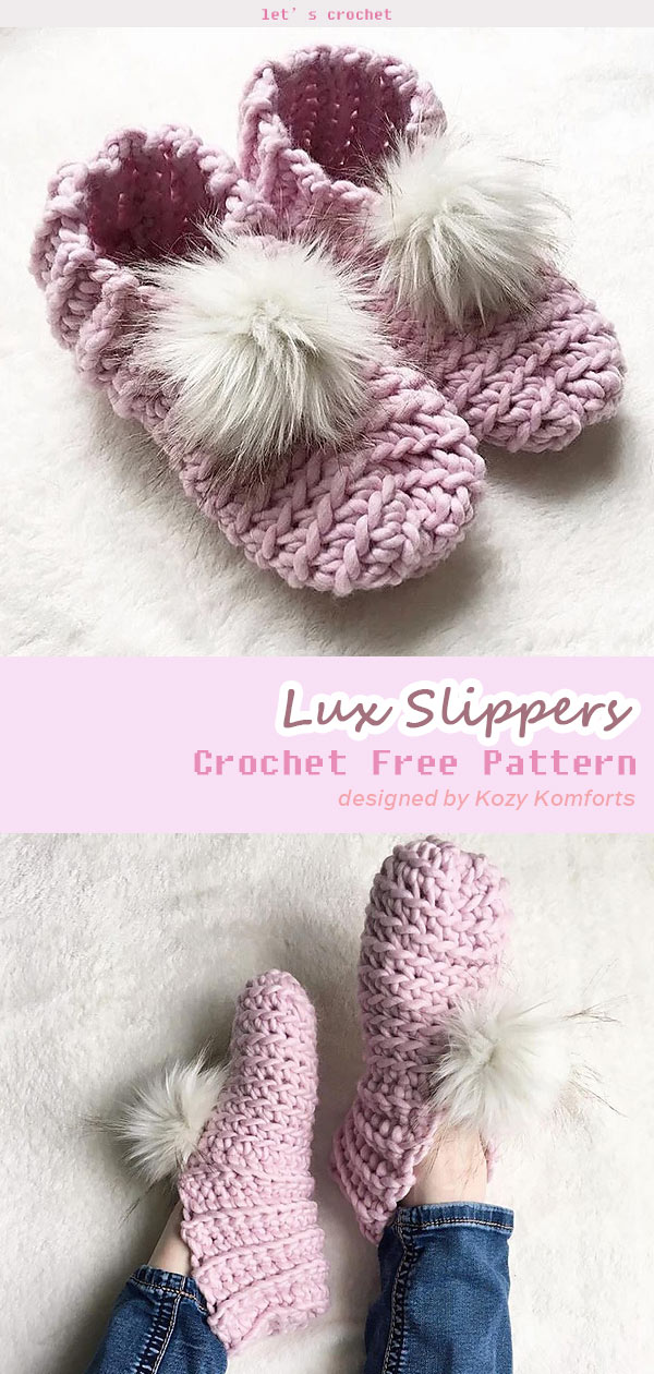 Lux Slippers Crochet Free Pattern