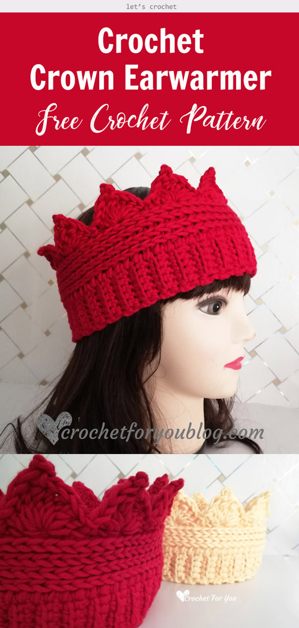 CROCHET CROWN EAR WARMER FREE PATTERN