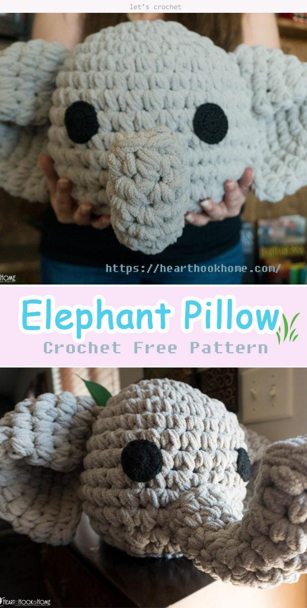 Crochet Elephant Pillow Pattern | Crochet elephant pattern ... | 1188x600
