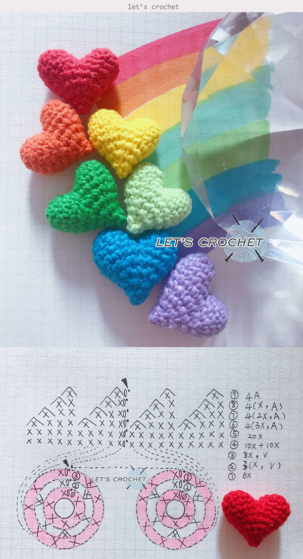 Puffy Hearts Crochet Free Diagram