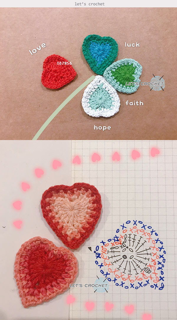 Easy Heart Coaster Crochet Free Diagram