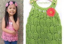 Pineapple Cascade Baby Dress Free Crochet Pattern