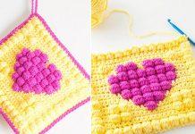 Bobble Heart Potholder Crochet Free Pattern