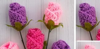 Crochet Simple Origami Rose Flower Free Pattern and Video Tutorial