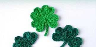Lucky Clover Leaf Applique Crochet Free Pattern