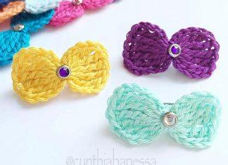 Simple Hair Bows Crochet Free Pattern