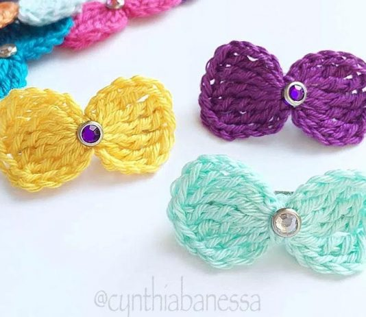 Simple Hair Bows Crochet Free Pattern