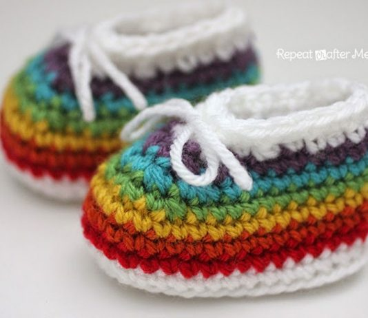 Rainbow Baby Booties Crochet Free Pattern