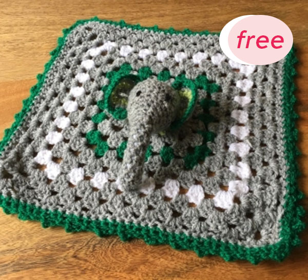 Elephant Baby Lovey Blanket Crochet Free Pattern