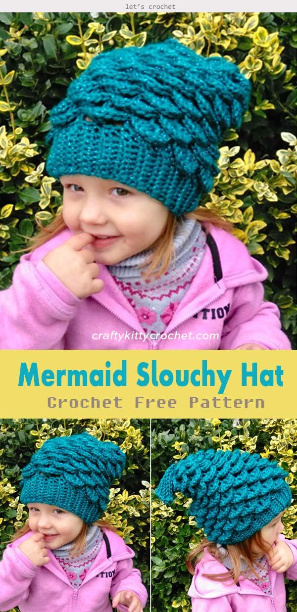 Mermaid Slouchy Hat Crochet Free Pattern