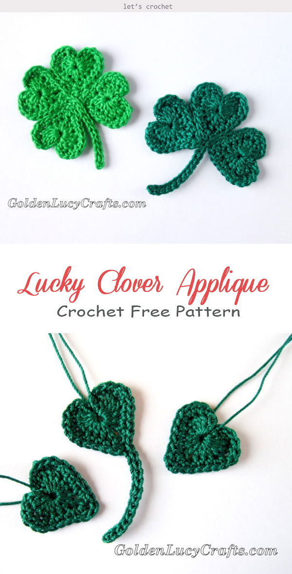 Lucky Clover Applique Crochet Free Pattern
