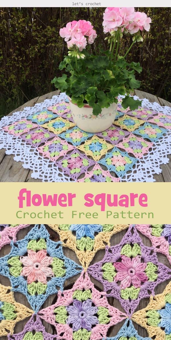 Little Wilde Flower Square Crochet Free Pattern