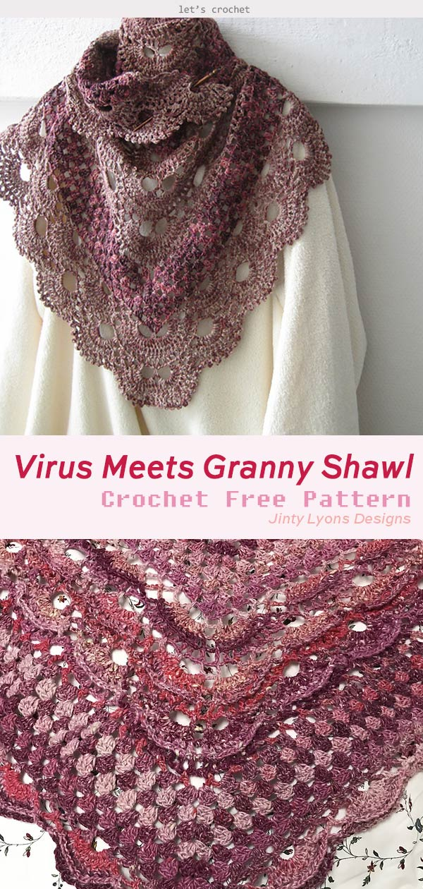 photo about Virus Blanket Pattern Free Printable identify Virus Fulfills Granny Shawl Crochet Absolutely free Routine