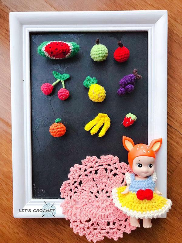 Keychain Cherry Fruits Crochet Free Diagram