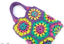 Strawflower Hexagon Tote Bag Crochet Free Pattern