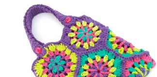 Strawflower Hexagon Tote Bag Crochet Free Pattern
