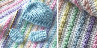 Rainbow Puff Baby Blanket Crochet Free Pattern