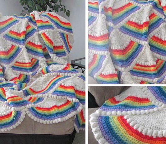 Rainbow Afghan Blanket Crochet Free Pattern