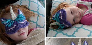 Child's Unicorn Sleep Mask Crochet Free Pattern