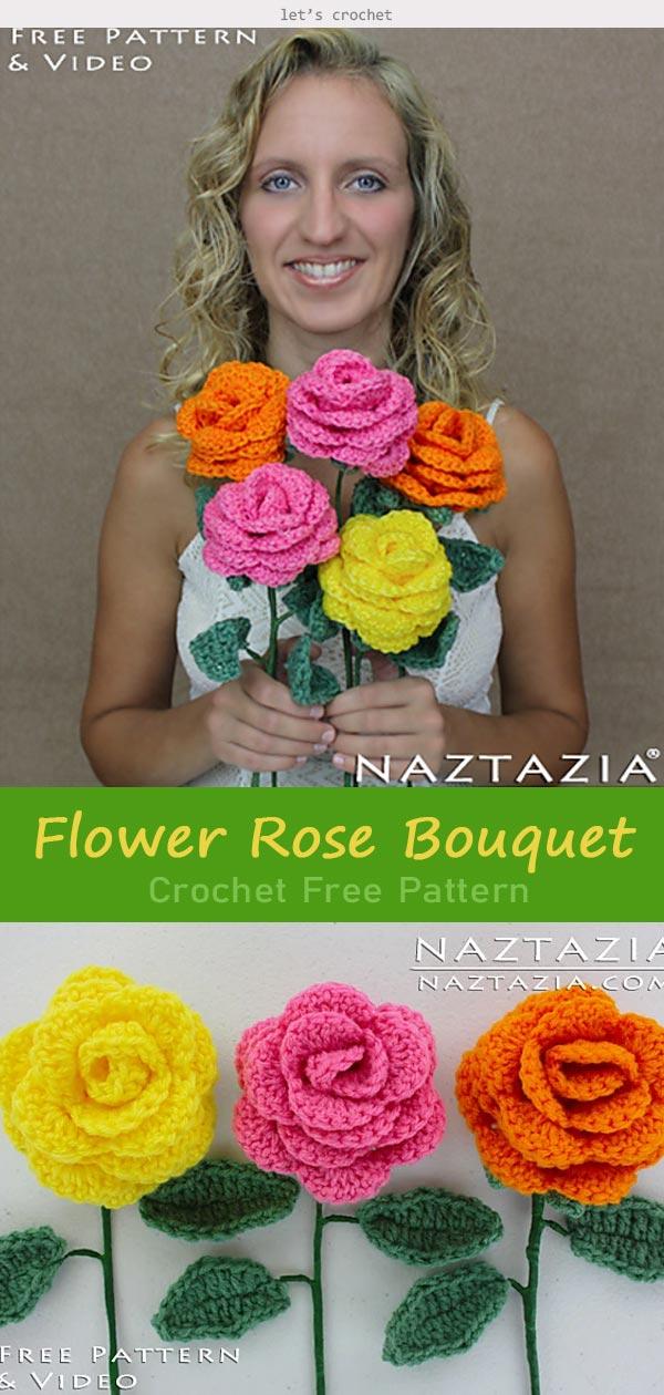 Flower Rose Bouquet Crochet Free Pattern