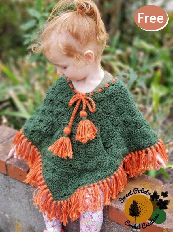 Kids Poncho Crochet Free Pattern