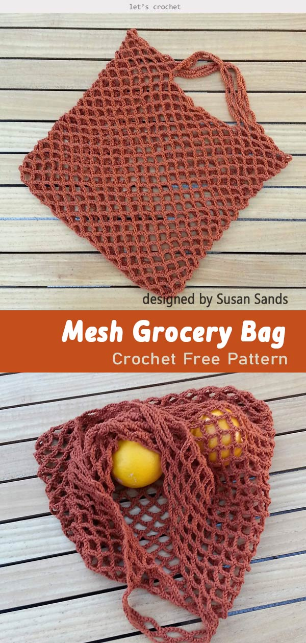 Easy Mesh Grocery Bag Crochet Free Pattern