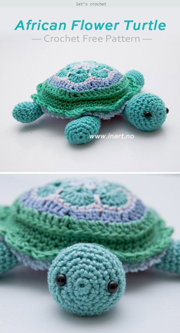 African Flower Turtle Crochet Free Pattern