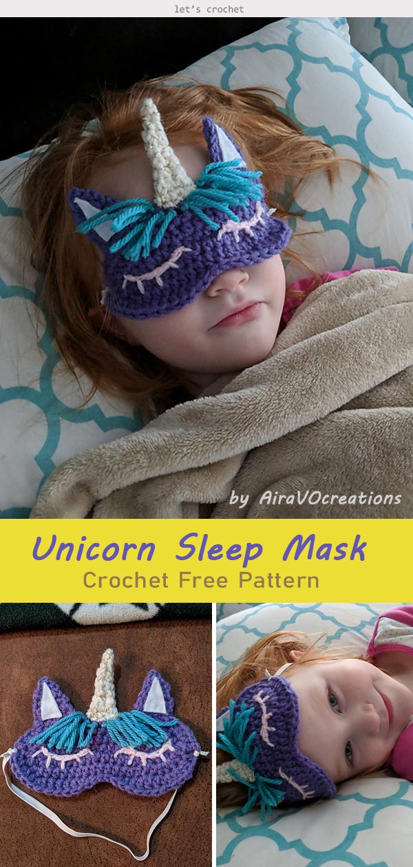 Child's Unicorn Sleep Mask Crochet Free Pattern
