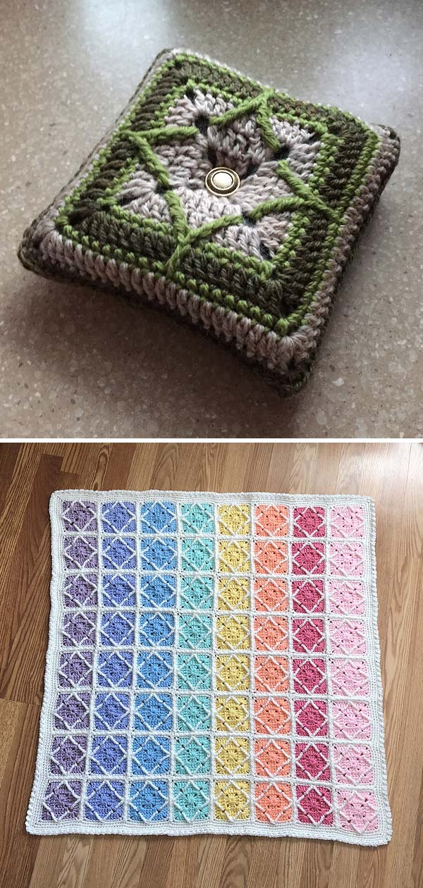 Northern Diamond Square Crochet Free Pattern