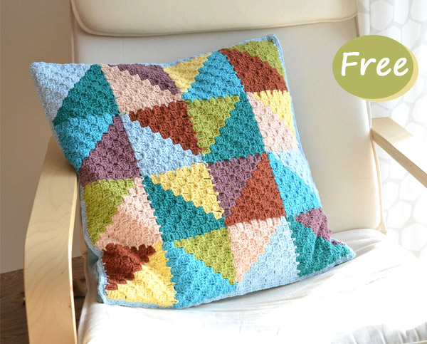 Pastel Triangles Pillow Crochet Free Pattern
