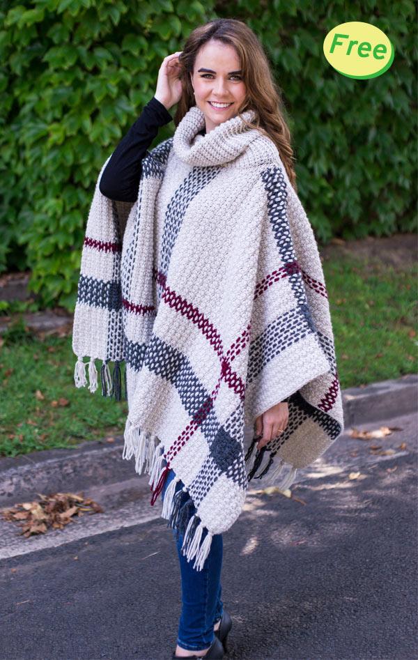 Crochet Tartan Poncho Free Pattern