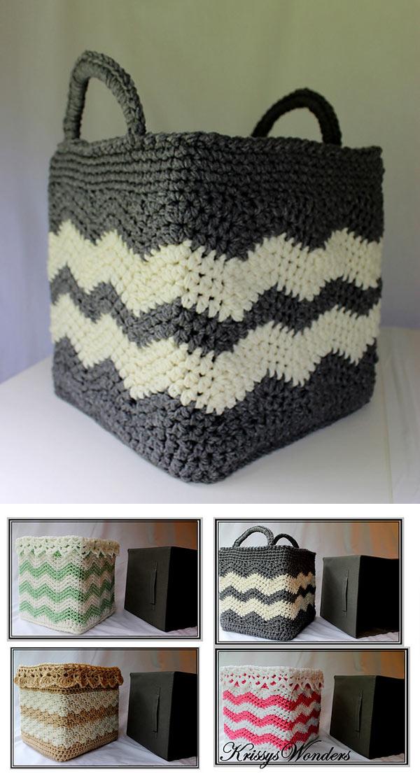 Square Wide Striped Basket
