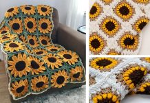 Sunflower Square Blanket Crochet Free Pattern